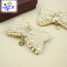 1 pair pearl bow shoe clip decoration fabric buckle N665(China (Mainland))
