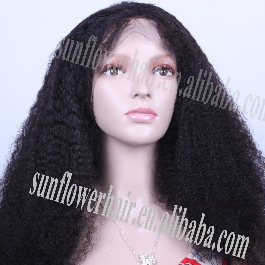 10a peruvan virgin hair Wholesale and retail natural hair line glueless kinky straight full lace wig/ for black women(China (Mainland))