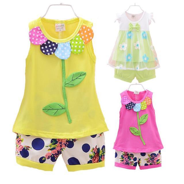 Девочки одежда комплект летние новые 2015 детская одежда установить рукавов майка ...