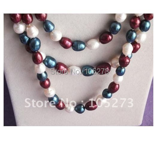 3rows pearl necklace AA 8-9MM Multicolor freshwater pearl beautiful sea shell flower clasp wholesale new free shipping FN1014A<br><br>Aliexpress