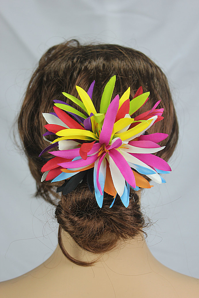 New FREE SHIPPING KL36198 50PCS/lot 10 colors mixted 13x13cm Felt spider lilies w plastic hair clip Hawaii party ,tropical(China (Mainland))