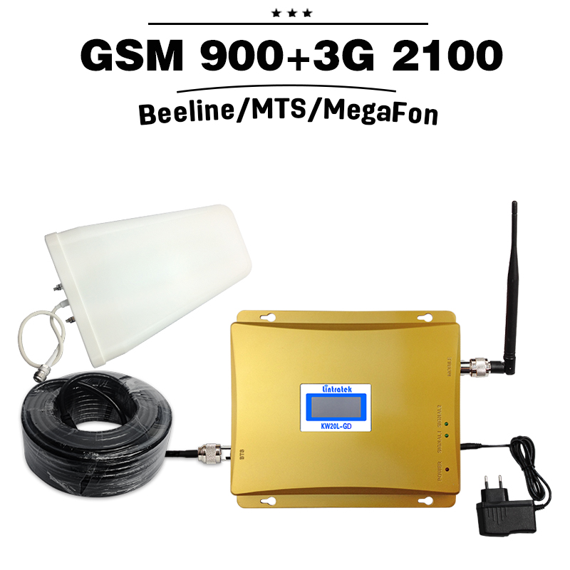 Full Kit GSM 900 3G Cellular Signal Booster GSM 900mhz 3G UMTS 2100mhz Mobile Amplifier WCDMA 2100 Dual Band Repeater Extender(China (Mainland))