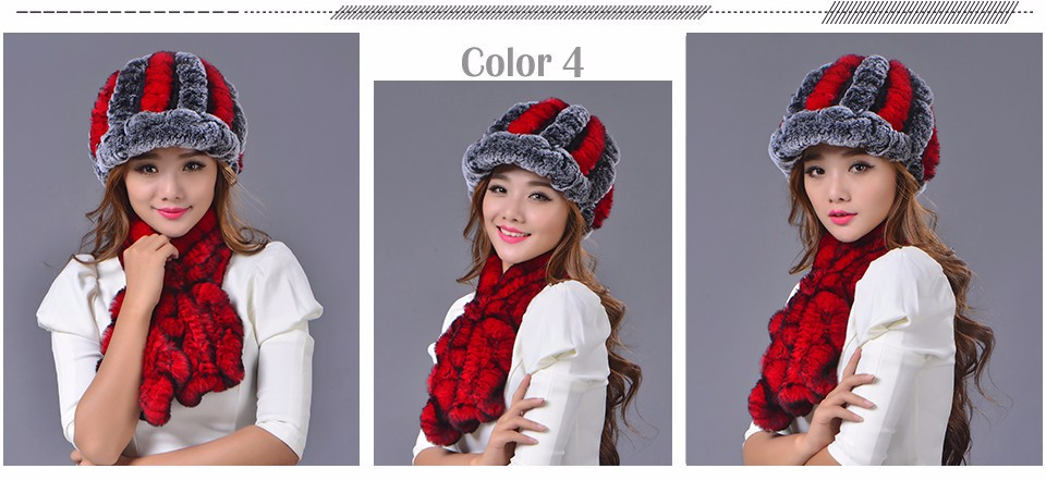 Rex Rabbit Fur Hat Scarf Set Winter Warm Set Real Fur Cap Muffler For Women Fashion Striped Elegant Flower Fur Hat Scarf Set