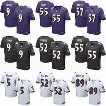2016 Men Baltimore Ravens #9 Justin Tucker #5 Joe Flacco #57 C.J. Mosley #89 Smith_Sr Purple Black White, 100% stitched logo(China (Mainland))