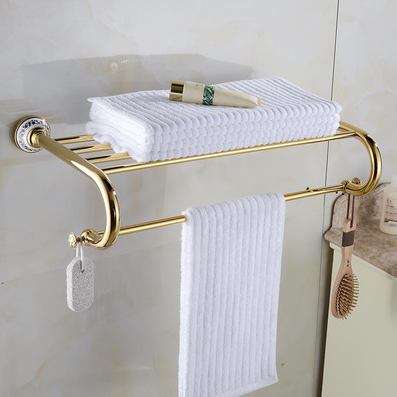 Golden Brass Porcelain Towel Rack Bathroom Accessories Shelves Towel Holder Towel Shelf Wall Mounted  XE3391