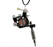 Fine Jewelry 1PC Gunmetal Mini Tattoo Machine Necklace Punk Style Pendant Necklace For Women & Men Hip Hop & Rock Jewelry Gifts(China (Mainland))