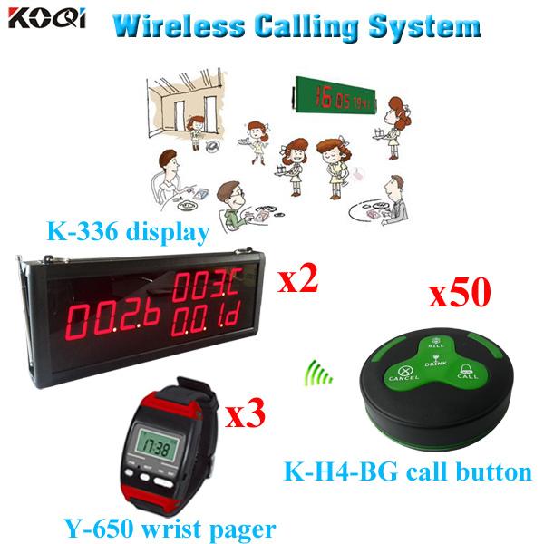 Sound System Telegraphic Transfer Payment Wrist Watch Buzzer Communication Receiver ( 2 display 3 wrist watch 50 call button)(China (Mainland))