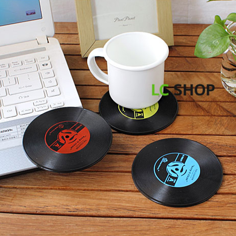 1 Pc Useful Vinyl Coaster Groovy Record Cup Drinks Holder