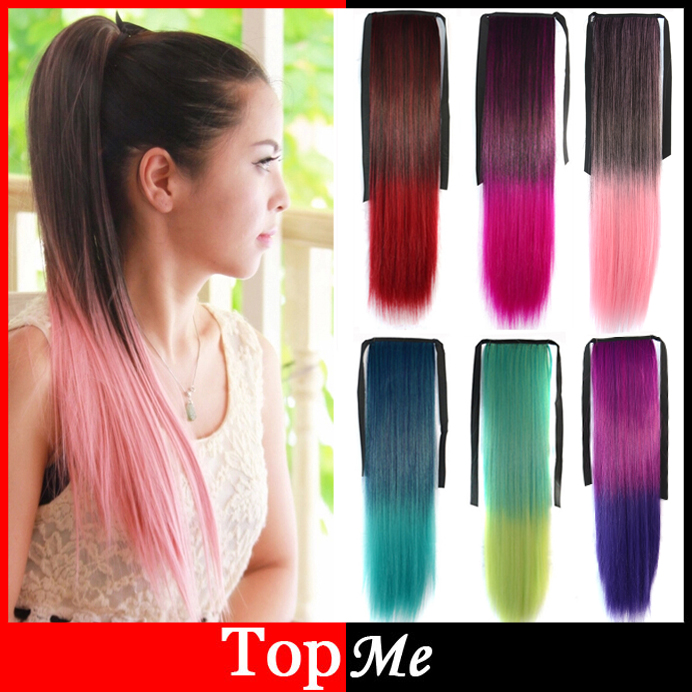 Women Ponytails Hair Extensions Colorful Europe America Synthetic Ponytail 55cm Long Straight Lady Girls New Pony Tail Hairpiece(China (Mainland))