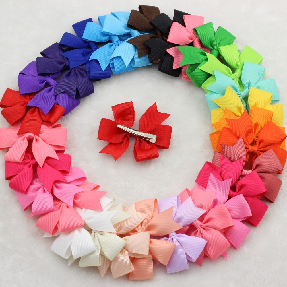 30pcs/lot baby hair bows clips,Baby Girl hair grosgrain ribbon Bow ,Baby Boutique hairpins girl hair accessories free shipping(China (Mainland))