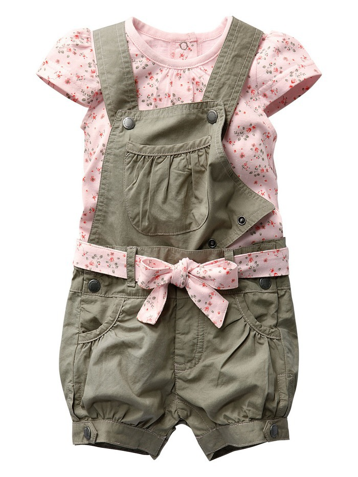 Retail 2014 Baby Girls Summer Suits Girls Cotton Clothing Sets For 0-2 Yrs Baby Floral t-shirt + Overalls + Belt Free Shipping(China (Mainland))