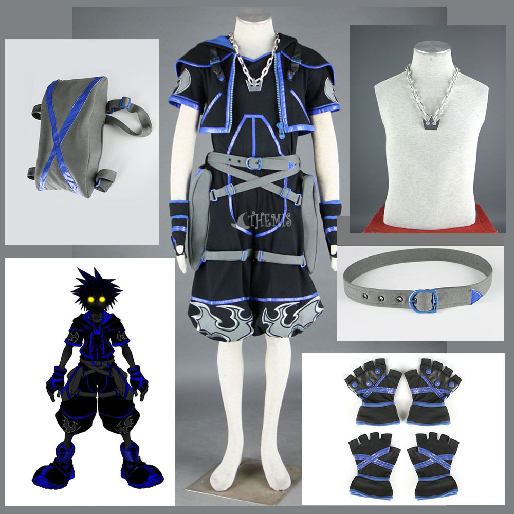 Athemis Kingdom Hearts IV Sora Cosplay Costume Cool Black Set Boys Unique Knickerbockers Outfits ...