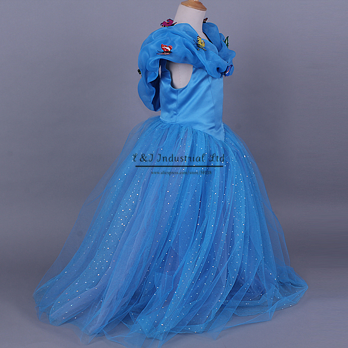 2015 New Cinderella Kids Dress Retail Blue Princess Girl Dress With Butterfly For Cinderella Cosplay Costume Girl Fancy Dresses(Hong Kong)