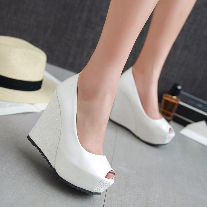 New Arrival Women's Pumps Sexy Peep Toe Woman's Shoes Shallow Wedges High Heels Shoes Popular Thick Platform Shoes Woman