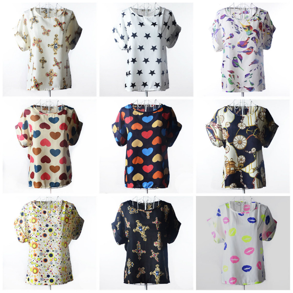 2015  New Products! Hot Sale Sexy Women Colorful Birds Chiffon shirt Batwing Loose Blouse Casual Tops   Free Shipping(China (Mainland))