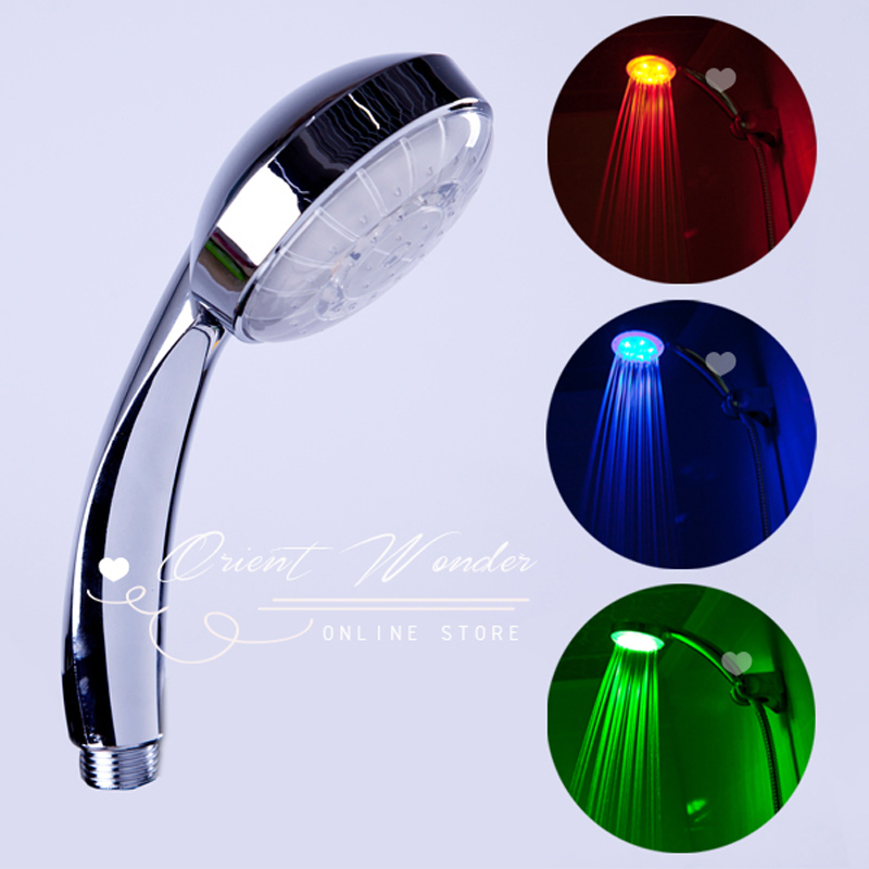 Hotsale 3 color LED Shower Head of RGB Light Temperature Control Light Change Self-power Bath Faucet Freeshipping(China (Mainland))