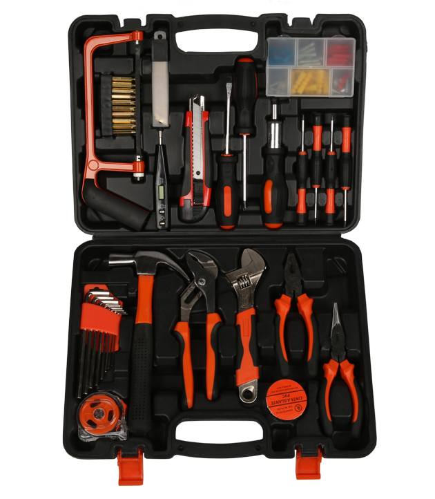 2015 household tool set 100 in 1 family tool kit combination work tools home hardware. Black Bedroom Furniture Sets. Home Design Ideas