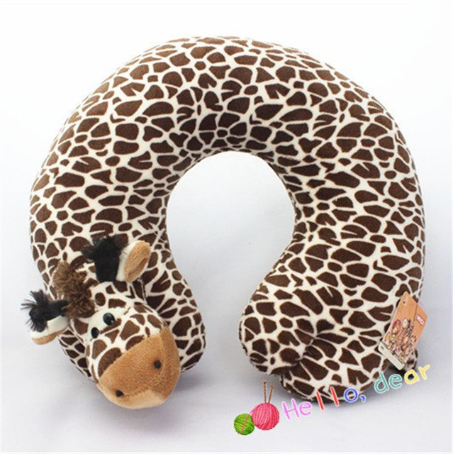 Free Shipping nice U-shape pillow healthy travel useful soft stuffed plush Toys cute comfortable doll jungle animals best gift