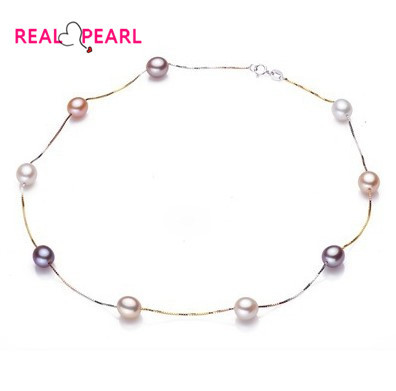 REAL PEARL 925 Sterling Silver Pearl Necklace, 8-9mm Big Size Natural Pearl Jewellery for Charm Lady(China (Mainland))