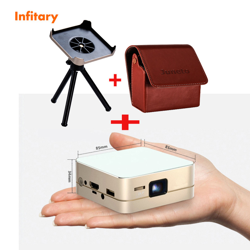 free ship P96 projector Smart HD LED 3D Android 4.4 Portable Pocket Multi Use Wifi DLP +leather case and Supporting tray +Tripod(China (Mainland))
