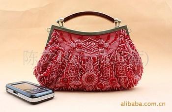 Vintage Ladies Beads Clutch Evening Bag Handbag Make up bag Purse Handmade Flowers B0032