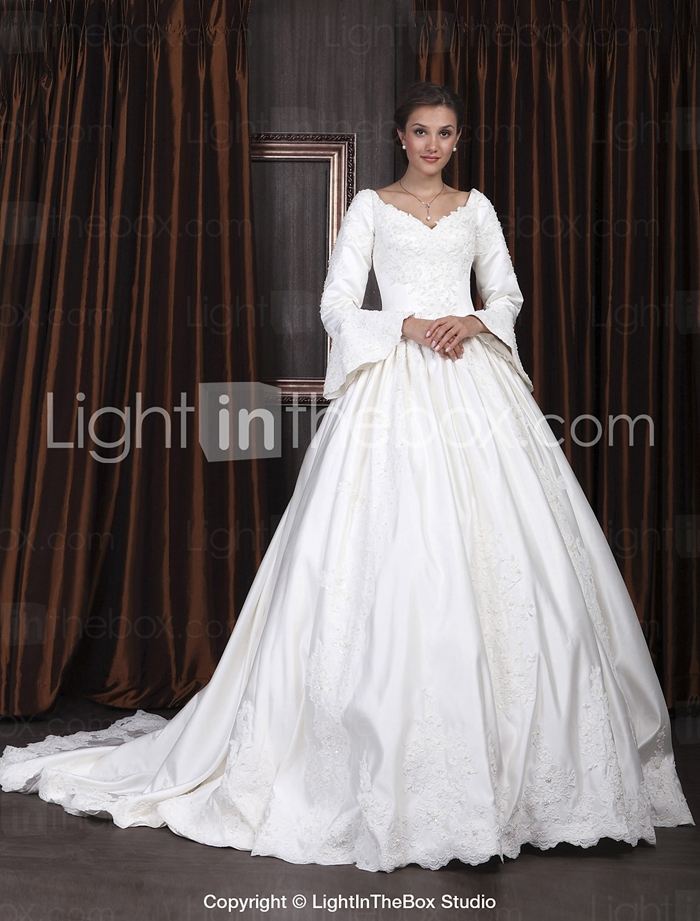 ball gown v neck long sleeve satin luxury wedding dress