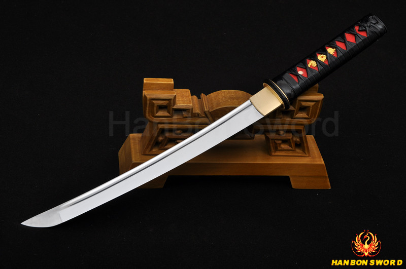 Buy Quenched Oil Japanese Samurai Sword Tanto Knife Handmade 1060 Full Tang Blade Leather Ito Tsuka Imported sageo Wholesale cheap