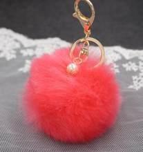 Hot faux Pérola Bola de Pêlo de Coelho bolsa Chaveiro Anel clef porte de Pelúcia Artificial fur PomPom chaveiro Ornamento pom pom pingente(China)