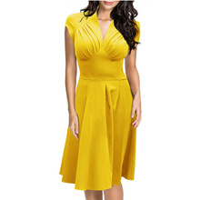 Special Yellow Colour V Neck Mature Sexy Plus Size Woman Fashion Casual Clothing Formal Ladies Office Dress L36103-2