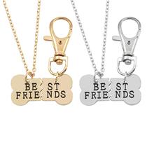 Buy 2Pcs/Set Pet Dog Bones Best Friends Necklace Dog Bone BFF Statement Necklaces Women Key chain Necklaces & Pendants Colar for $1.29 in AliExpress store