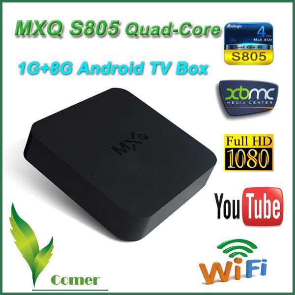 MXQ Android TV Box Amlogic S805 Quad Core Android Smart TV 1G/8G HDMI WiFi Ethernet H.265/HEVC 1080P XBMC Media Player PC TV Box(China (Mainland))