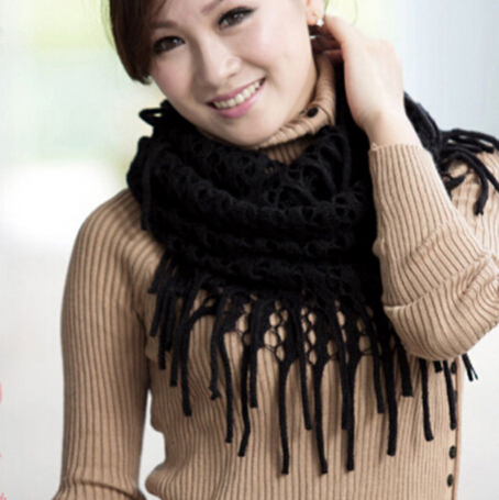Winter Warm Fashion Women Knitted Tassels Shawl Scarf Candy Color Women Ring Scarf