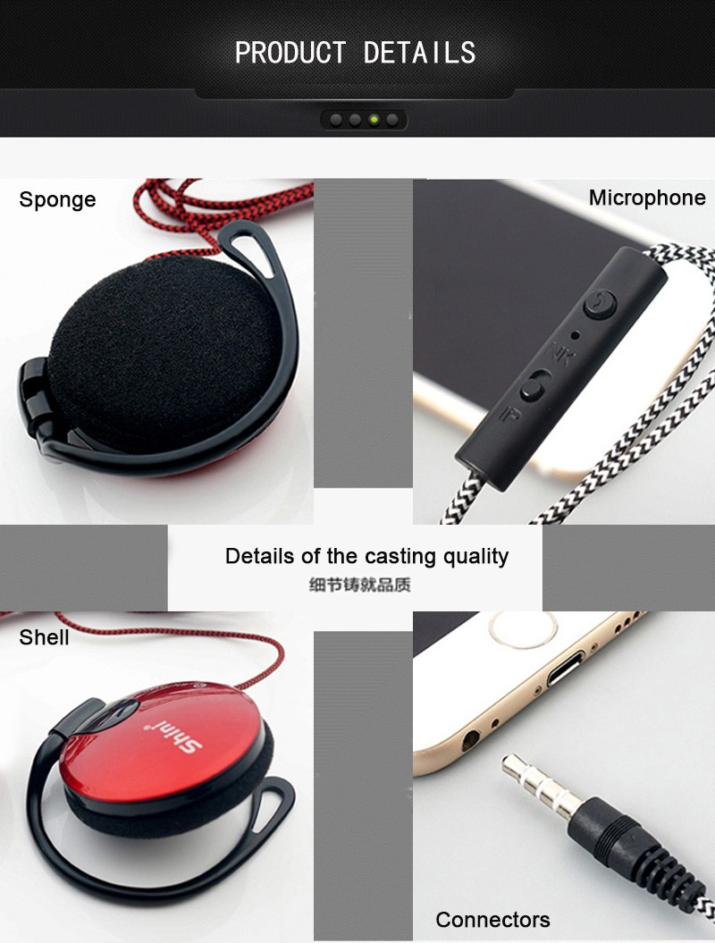 General Purpose Earphone Ear Hook Headphone Headset with Microphone for iPhone Samsung Xiaomi All Mobile Phone