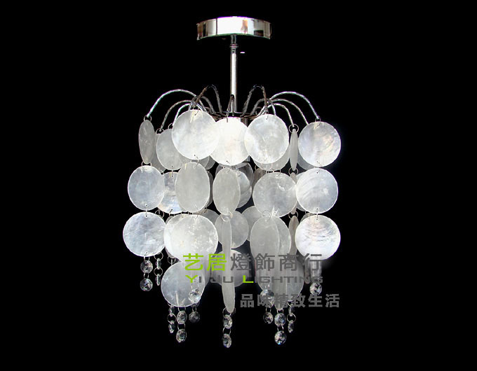 Фотография FREE SHIPPING Wrought iron natural white super dense shell crystal dome light corridor lamp chandelier light