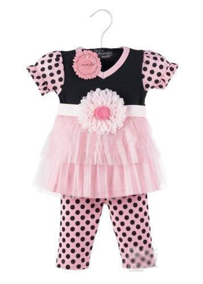 summer style fashion girl kids clothes set catroon lace flower top+polka dot leggings girl set brands baby girl clothing set(China (Mainland))