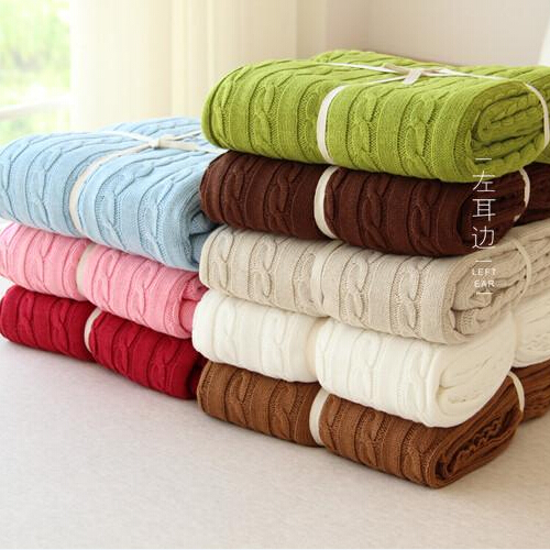 Free shipping high quality 100% cotton knit blanket for Summer/Autumn on Sofa/Bed 110*180cm(China (Mainland))