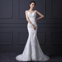 Lace Wedding Dresses 2015 Floor- length Mermaid Wedding Dress Fashionable Tull Back Custom Made Plus Size vestidos de noiva(China (Mainland))