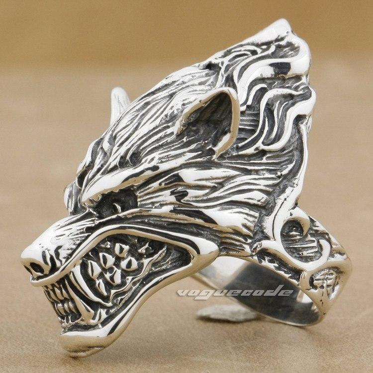 werewolf grinning wolf 925 sterling silver mens biker ring