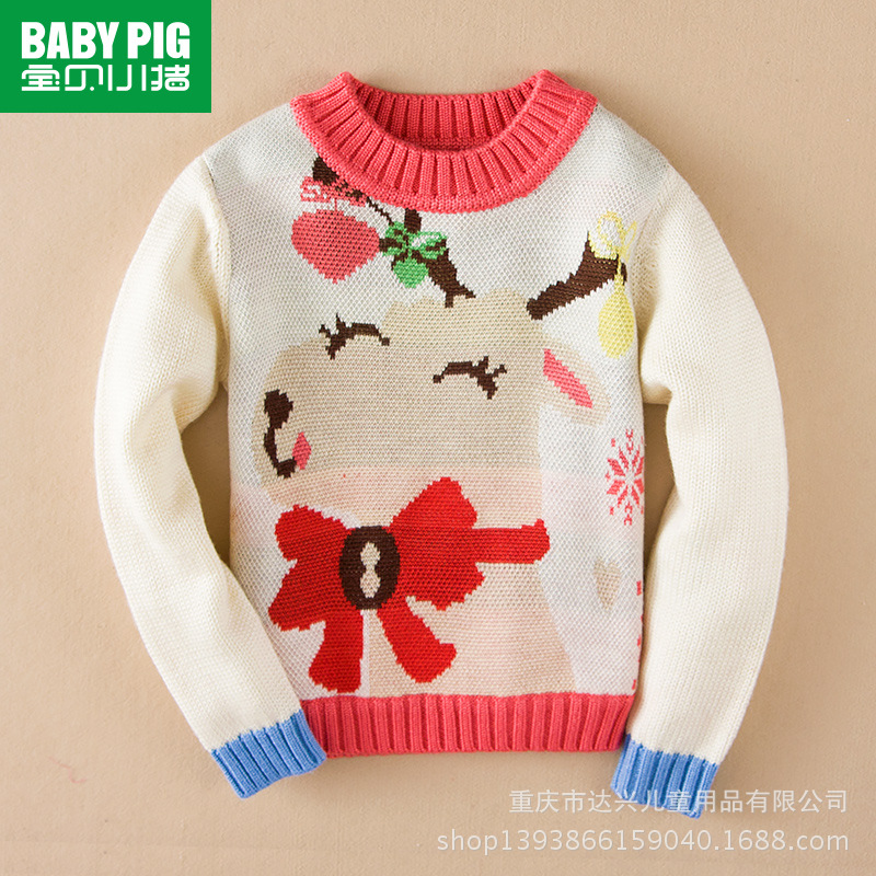 Baby pig 2014 winter new girl wool turtleneck sweater clothing manufacturers selling half(China (Mainland))