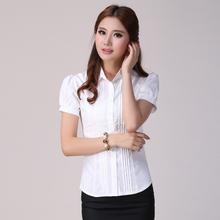 The manufacturer sells 5 shirts, Summer new women thin type of chiffon blouse fashion professional short sleeve white shirts