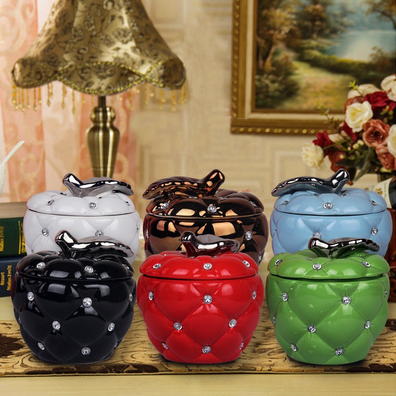 Free shipping Fashion Ceramic Apple canister home & garden modern Home Decoration furnishing articles New Year gift(China (Mainland))