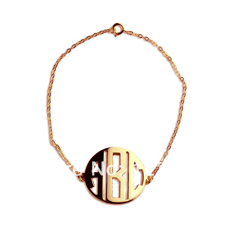 personal monogrammed pendant 3 letters gold plated