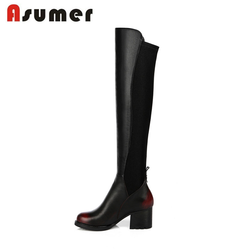 2016 new arrive high quality genuine leather elegant over the knee boots keep warm round toe thick heel women boots<br><br>Aliexpress