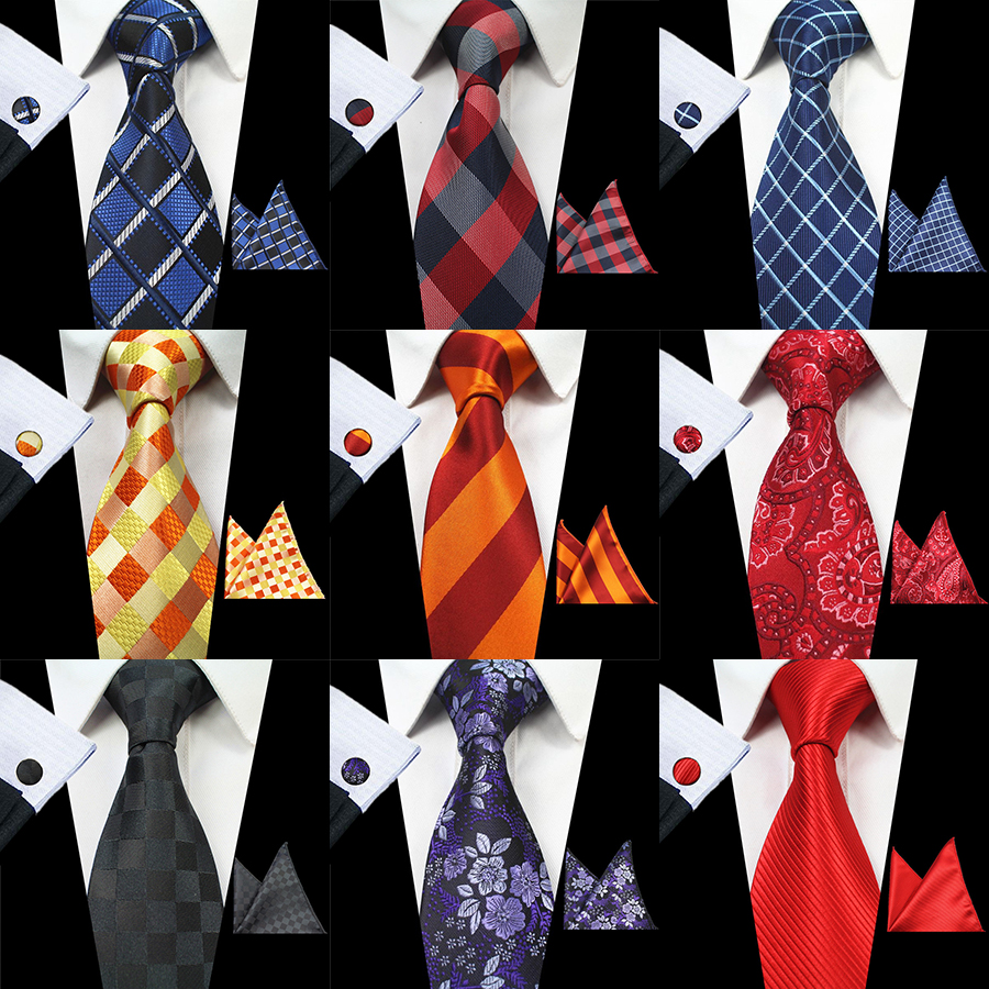 GUSLESON New Design Plaid Striped Tie Set 100% Silk Jacquard Mens Necktie Gravata Hanky Cufflinks Set Mens Tie for Wedding Party(China (Mainland))
