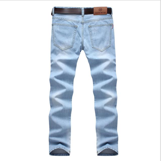 Светло-синий мужчины джинсы весна лето прямой свободного покроя без тары деним длинная ...