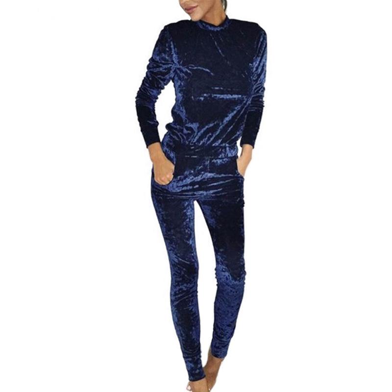 Autumn Velvet Women Sets 2017 Fashion Long Sleeve Shining Bodycon Slim Sweat Suits Hoodies Tracksuit Two Piece Trousers Women(China (Mainland))