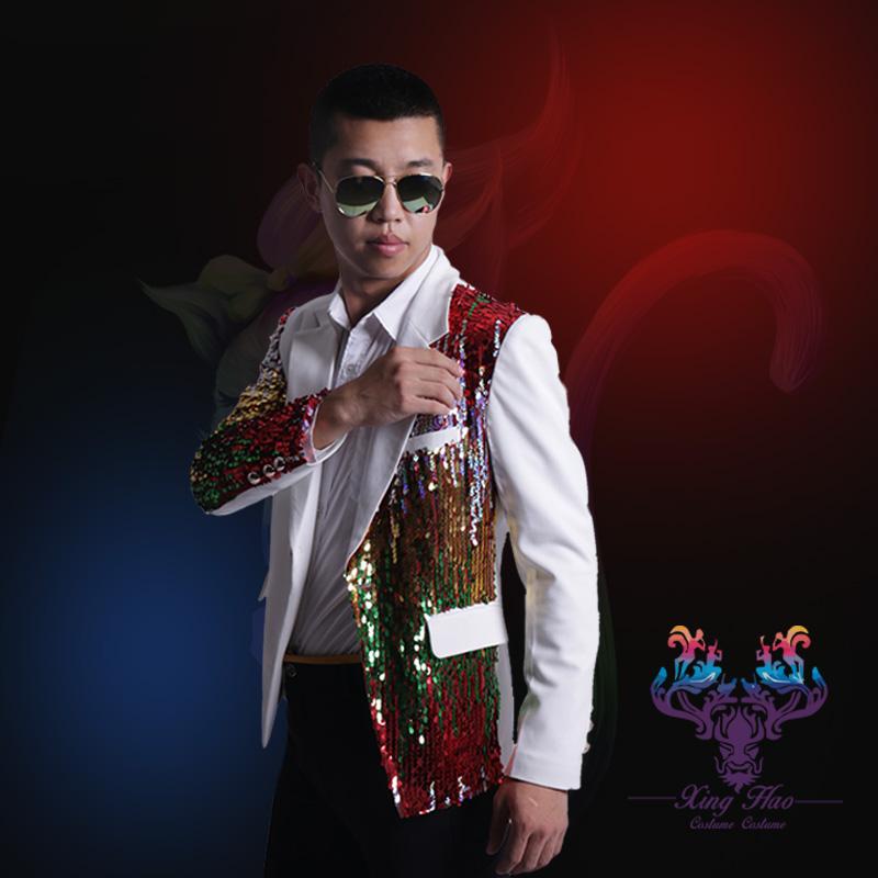 2016 men blazer jacket outwear male Slim multicolored sequins bright mosaic singer performance groom show party nightclub bar(China (Mainland))