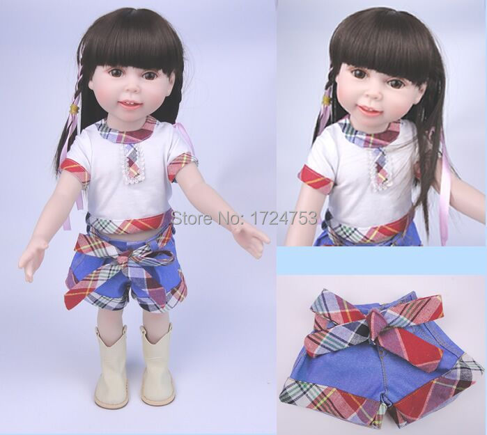 Discounts! new style 18 inch American girl baby doll smiling lovely princess wearing casual clothes shoes child gift