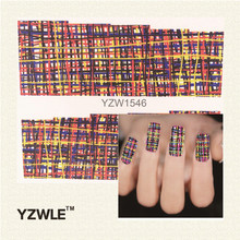 YZWLE Colored lines Pattern New Arrival Water Transfer Nail Art Stickers Decal(China (Mainland))
