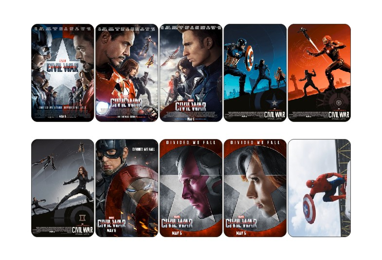 10 pcs/set Marvel's Captain America: Civil War Movie Poster Laptop Card Sticker DIY Craft Decoration Self-Adhesive Stickers 1422(China (Mainland))